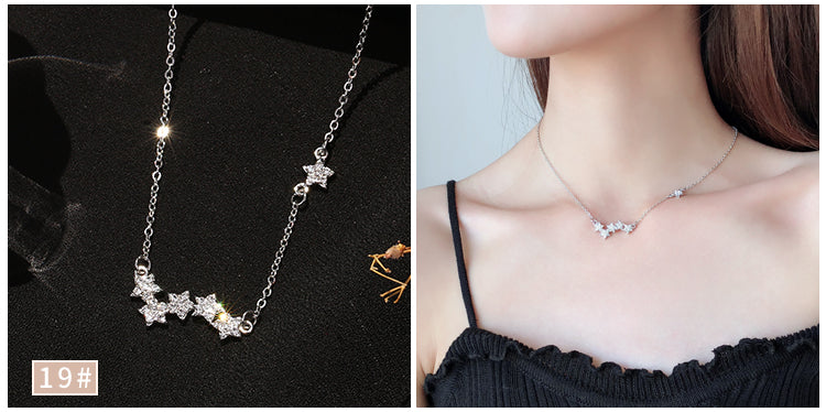 (Pre-Order) Korean Minimalist Circle Pearl Triangle Stars Necklace