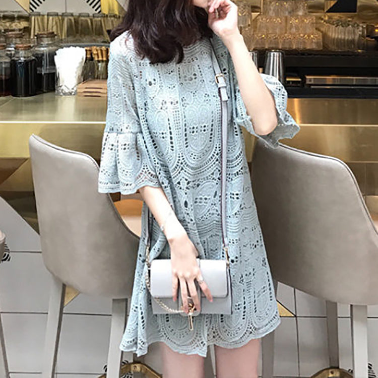 (Pre-Order) Loose Lace Bell Sleeve Shift Dress in Blue-Grey