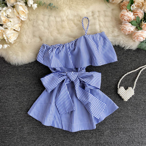 (Pre-Order) Ribbon Tie Stripes Ruffles Toga Top in Blue