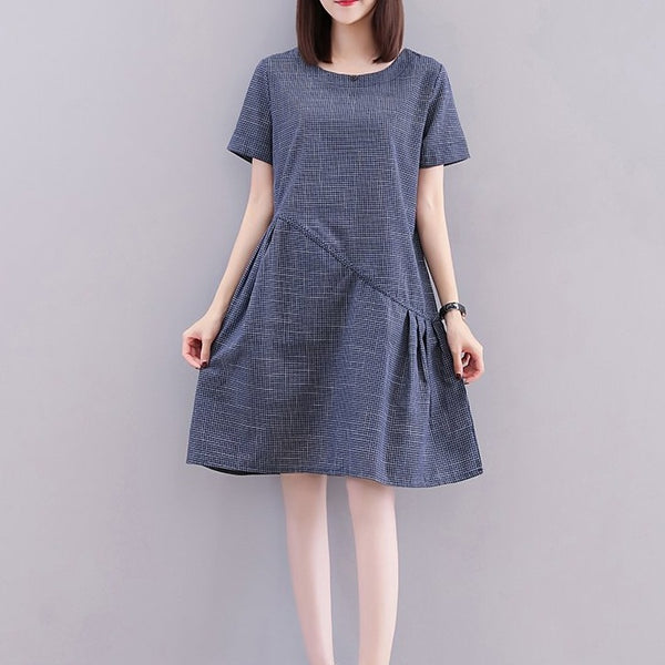 (Pre-Order) Checkered Babydoll Dress in Navy Blue