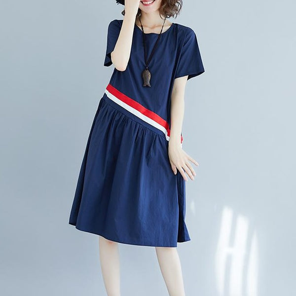 (Pre-Order) Contrast Slant Pleated Loose Fit Dress in Navy Blue