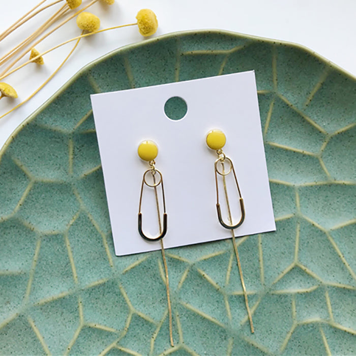 (Pre-Order) Yellow Asymmetrical Earrings 21C5