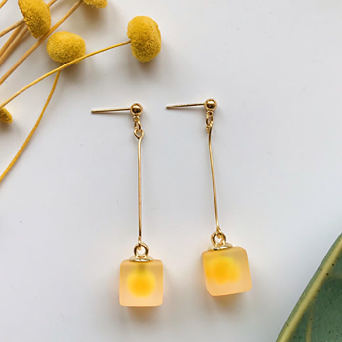 (Pre-Order) Yellow Asymmetrical Earrings 21D7