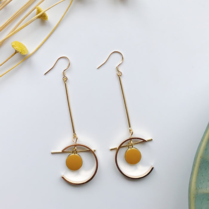 (Pre-Order) Yellow Asymmetrical Earrings 21E1
