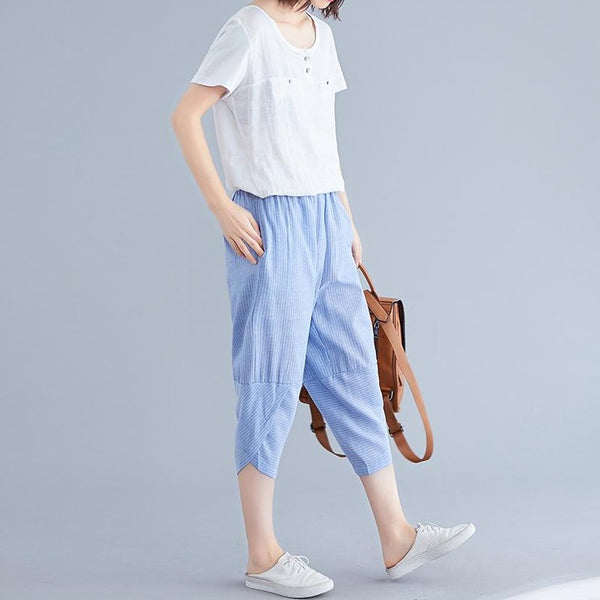 (Pre-Order) Asymmetrical Stripes Cropped Pants in Blue