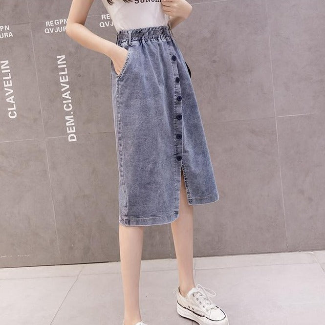 (Pre-Order) High Waist Button Up Front Slit Midi Denim Skirt in Blue