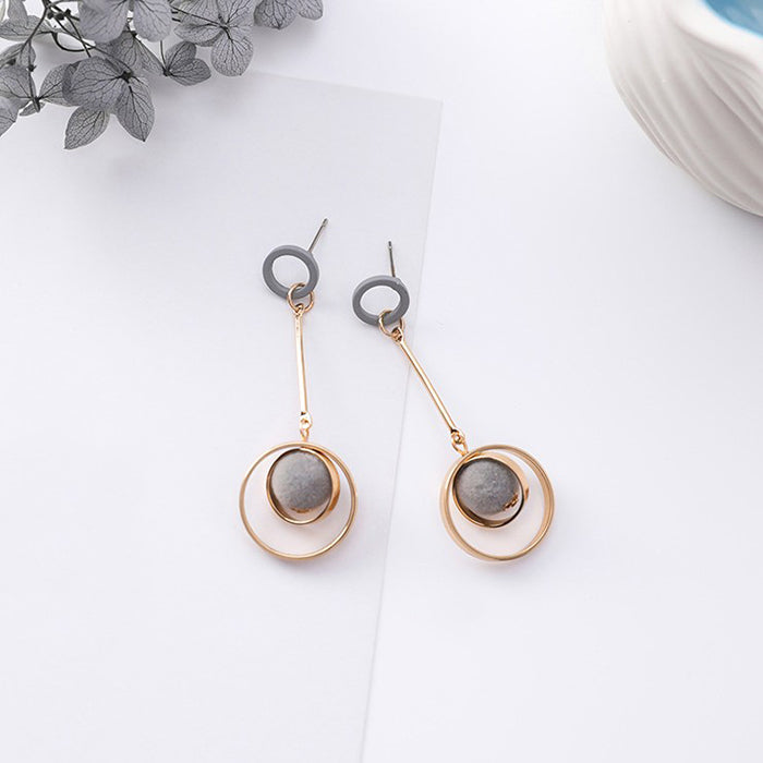 (Pre-Order) Korean Grey Temperament Geometric Earrings 31