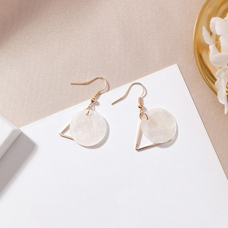 (Pre-Order) Geometric Shell Drop Earrings 4