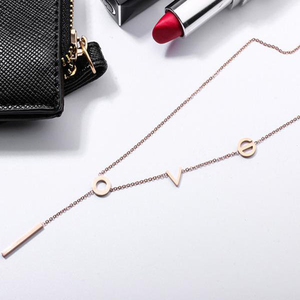 (Pre-Order) Simple Love Letter Long Necklace in Rose Gold/Silver/Gold