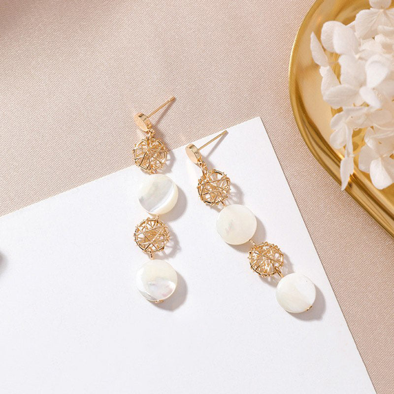(Pre-Order) Geometric Shell Drop Earrings 6