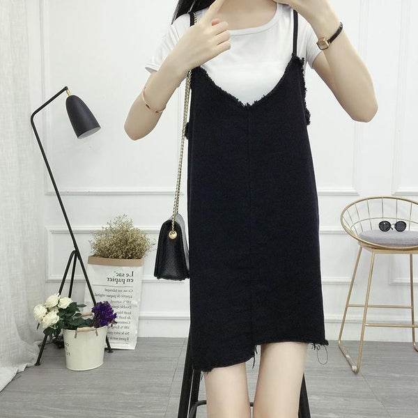 (Pre-Order) Asymmetrical V Denim Spag Pinafore in Black