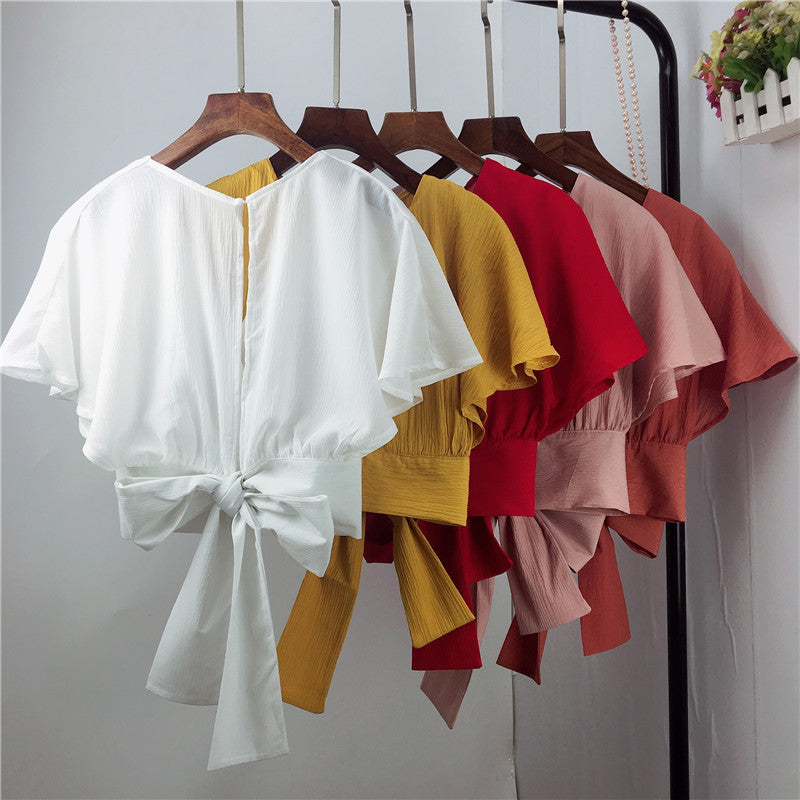 (Pre-Order) Basic V Neck Back Ribbon Cropped Top in Pink