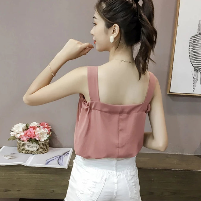 (Pre-Order) Front Tie Sleeveless Thick Straps Top in White