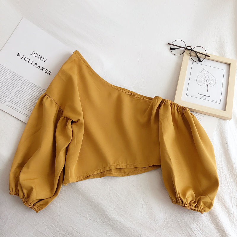 (Pre-Order) Toga Balloon Sleeve Cropped Top in Yellow