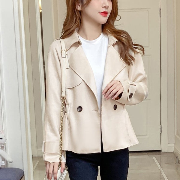 (Pre-Order) Korean Style Minimalist Long Sleeve Loose Fit Cropped Jacket in Beige
