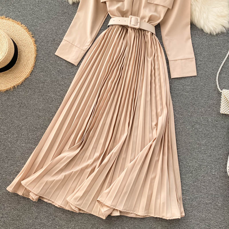 (Pre-Order) Round Neck Pleated Long Sleeve Belt Dress in Beige