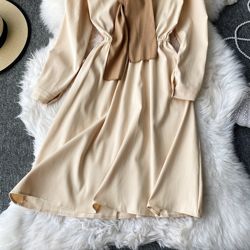 (Pre Order) Mock 2 Piece Collar Shirt Dress Long Sleeve Dress in Beige