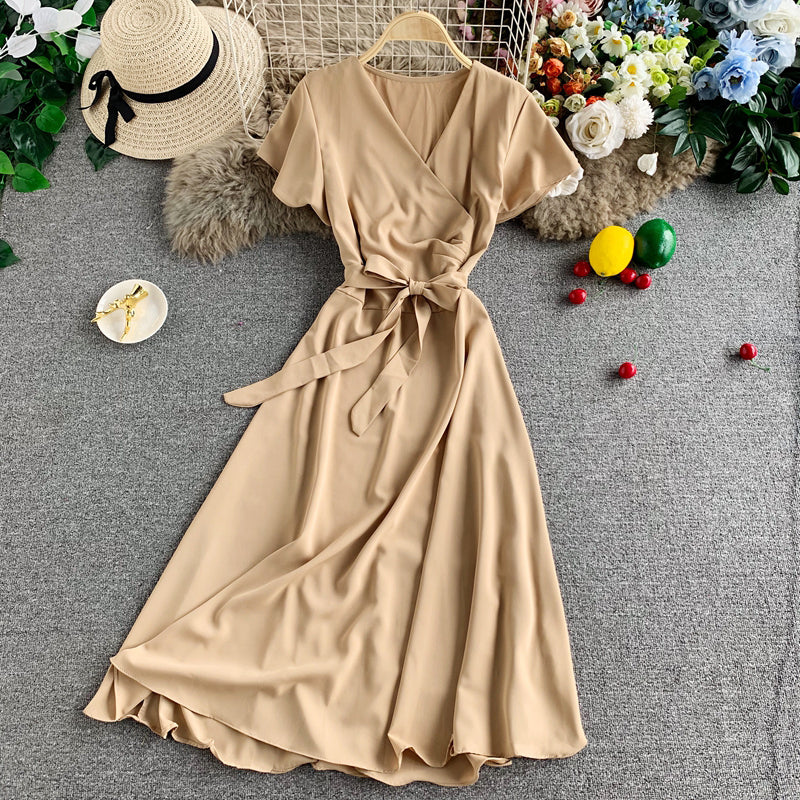 (Pre-Order) Overlap Ribbon Short Sleeve Midi Flare Dress in Beige
