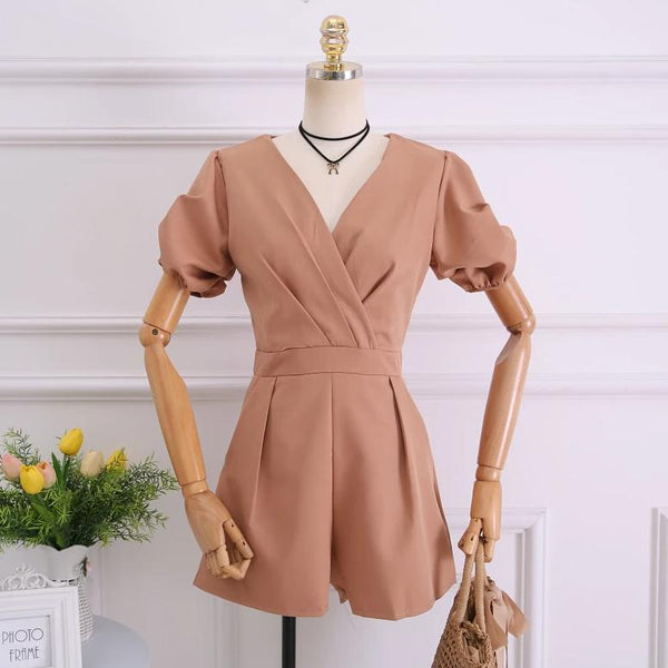 (Pre-Order) Balloon Sleeves V Neck Romper In Beige