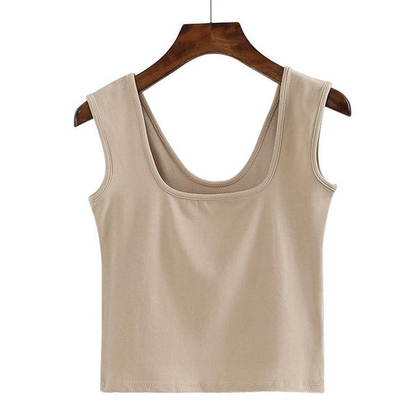 (Pre-Order) Basic U-Neck Sleeveless Cropped Top in Beige