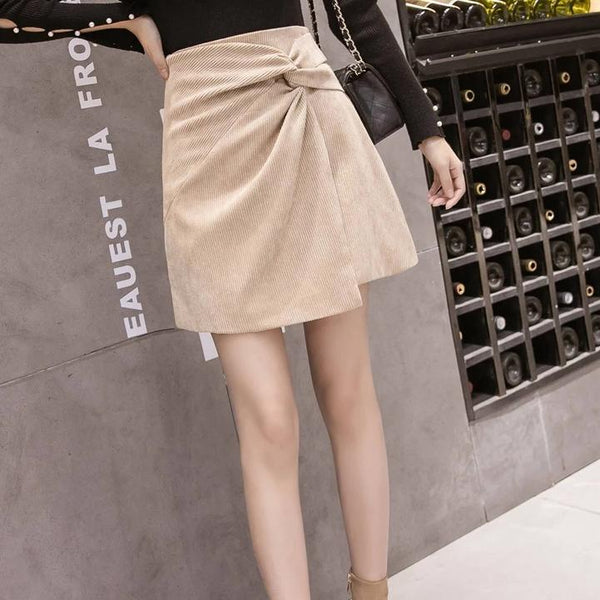 (Pre-Order) Loop Asymmetrical Skirt In Beige