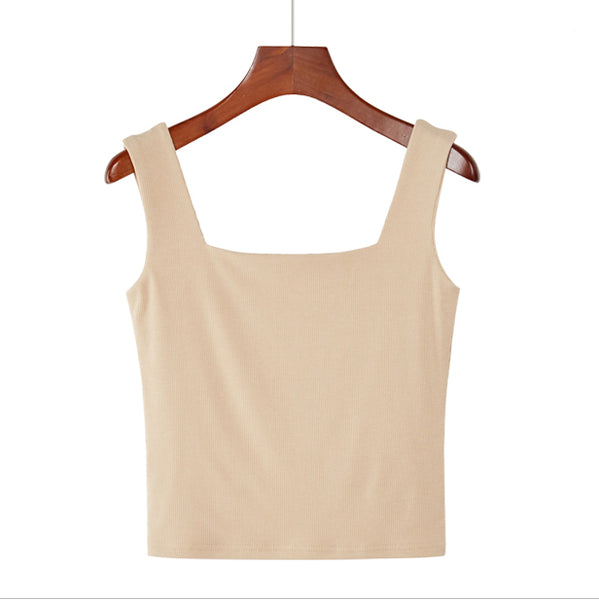 (Pre-Order) Basic Square Neck Sleeveless Cropped Top in Beige