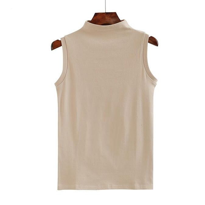 (Pre-Order) Mid-High Neck Sleeveless Top in Beige