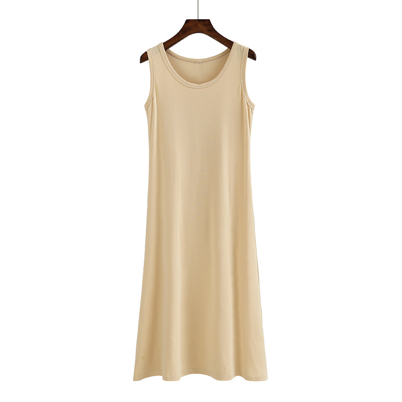 (Pre Order) Round Neck Sleeveless Midi Dress in Beige