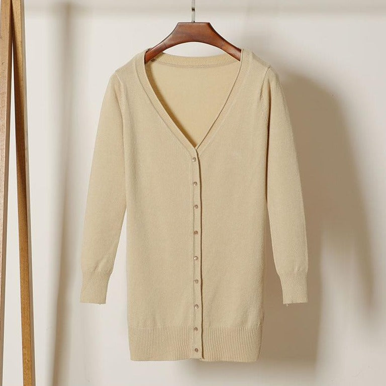 (Pre-Order) V Neck Button Knit Long Cardigan in Beige