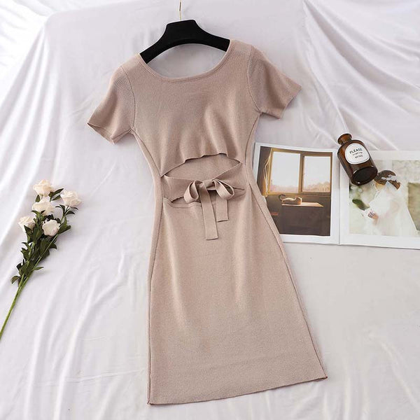 (Pre-Order) Back Cut-Out Bodycon Dress in Beige