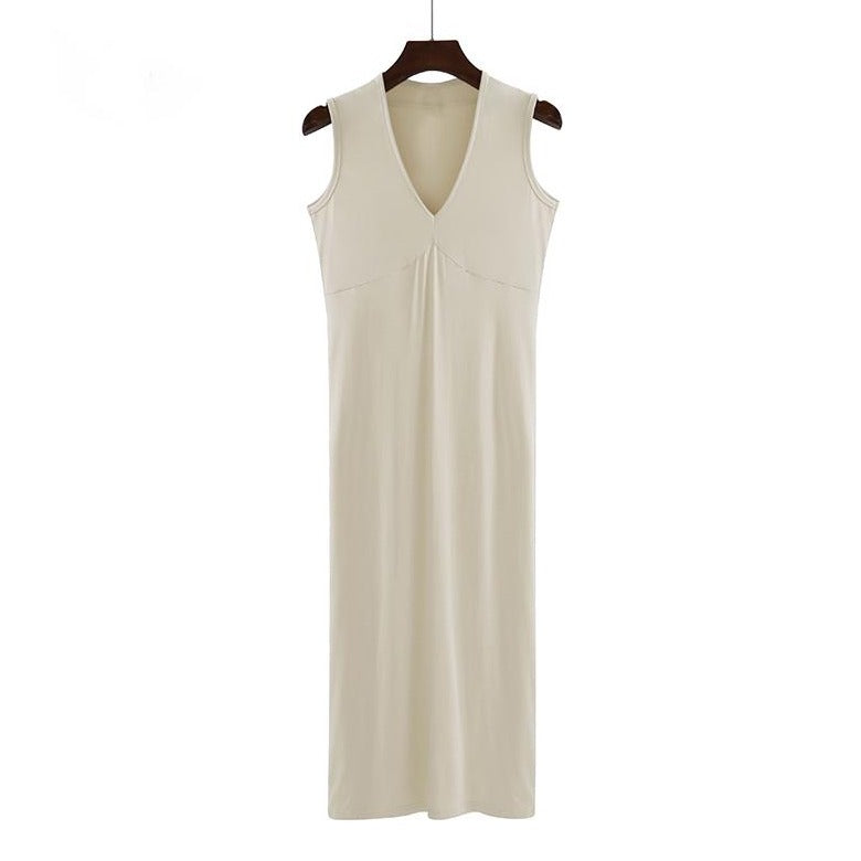 (Pre-Order) Basic Sleeveless V Neck Midi Dress in Beige
