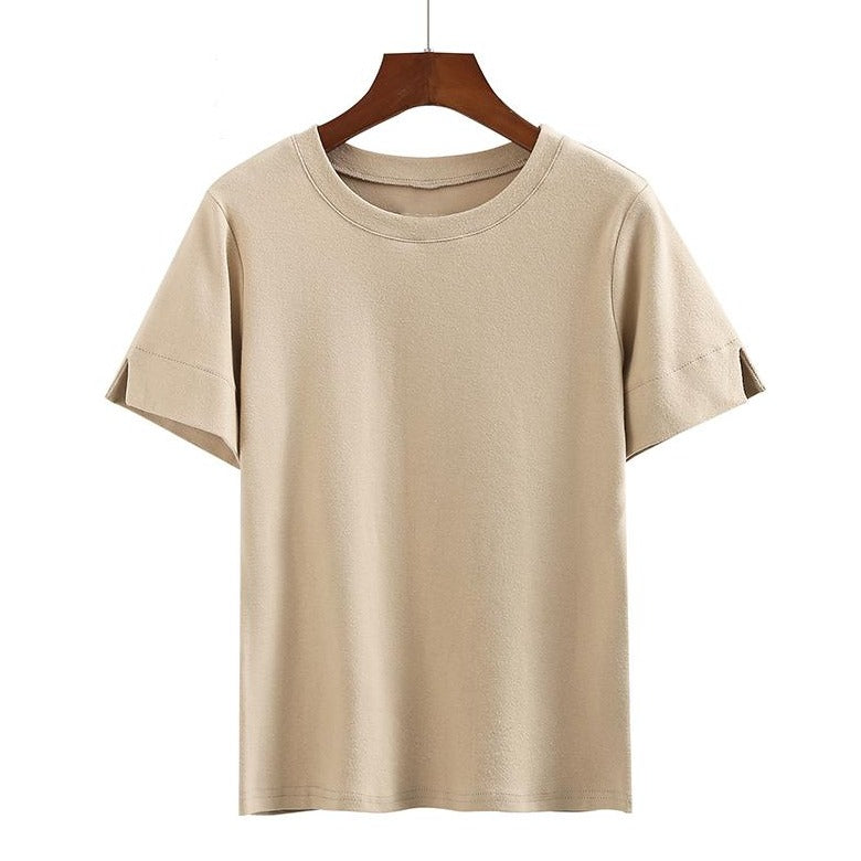 (Pre-Order) Basic Round Neck Sleeve Cut-Out Top in Beige