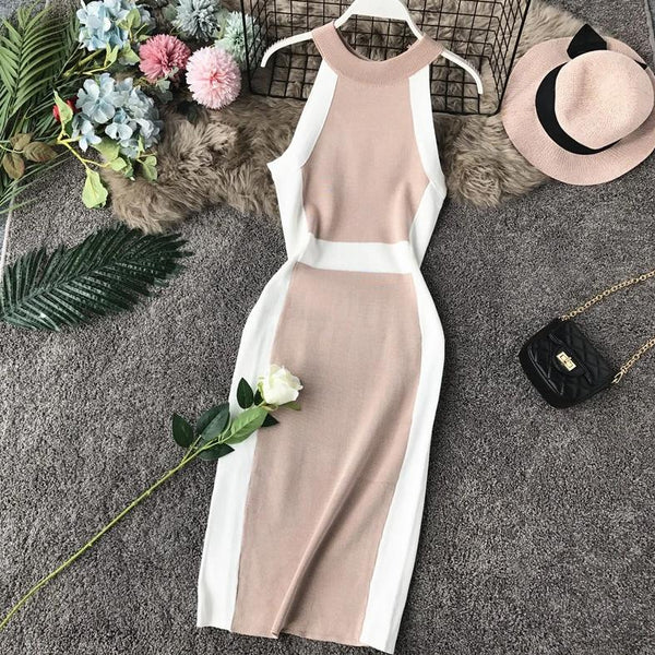 (Pre Order) Contrast Halter Bodycon Midi Dress in Beige