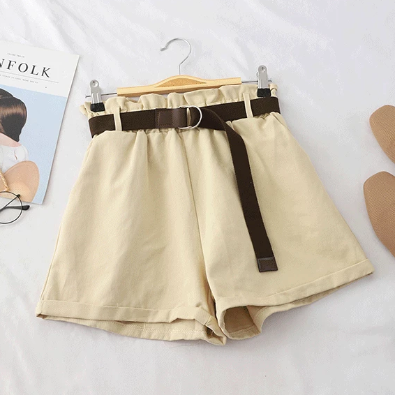 (Pre-Order) Basic High Waist Wide Leg Shorts Beige