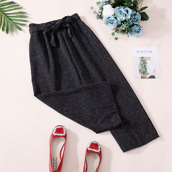 (Pre-Order) Ribbon Basic Culottes In Black-Grey