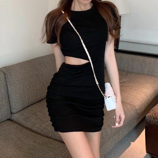 (Pre-Order) Round Neck Waist Cut-Out Bodycon Mini Dress in Black