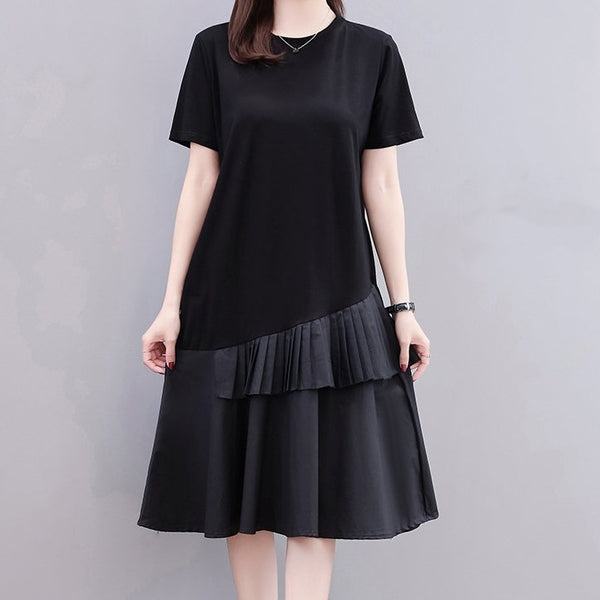 (Pre-Order) Ruffles Pleated Layers Patch Midi Dress in Black