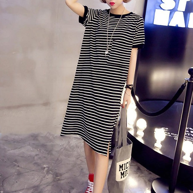 (Pre-Order) Stripes Front Pocket Side Slit Loose Fit Tee Dress in Black