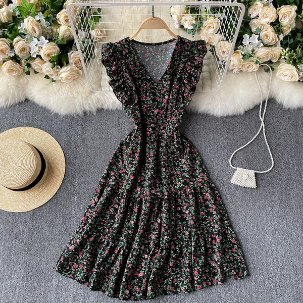 (Pre-Order) Floral V Neck Ruffles Sleeve Gypsy Midi Dress in Black