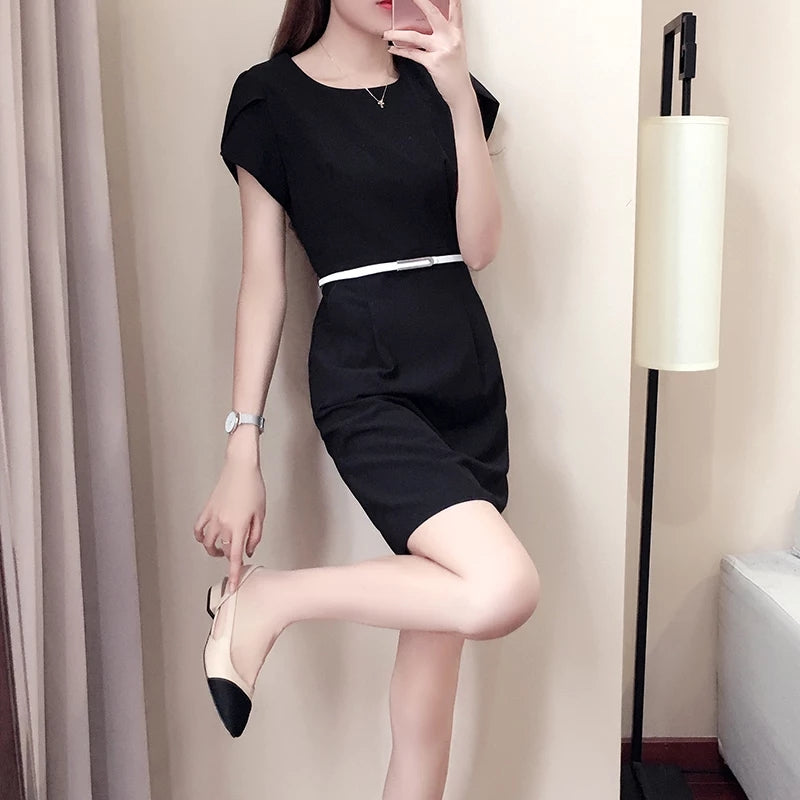 (Pre-Order) Round Neck Petal Sleeve Dress in Black