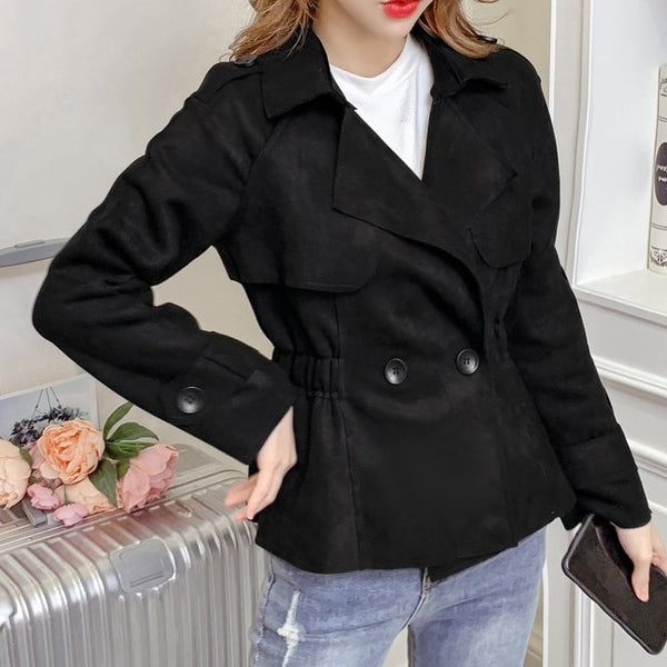 (Pre-Order) Korean Style Minimalist Long Sleeve Loose Fit Cropped Jacket in Black