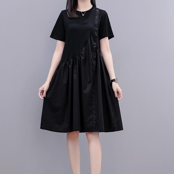 (Pre-Order) Sleeve Side Button Loose Fit Dress in Black
