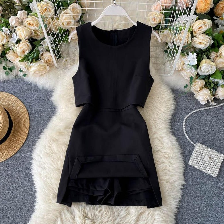 (Pre-Order) High Waist Front Cut-Out Romper in Black