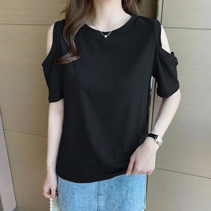 (Pre-Order) Basic Cold Shoulder Short Sleeve Top in Black