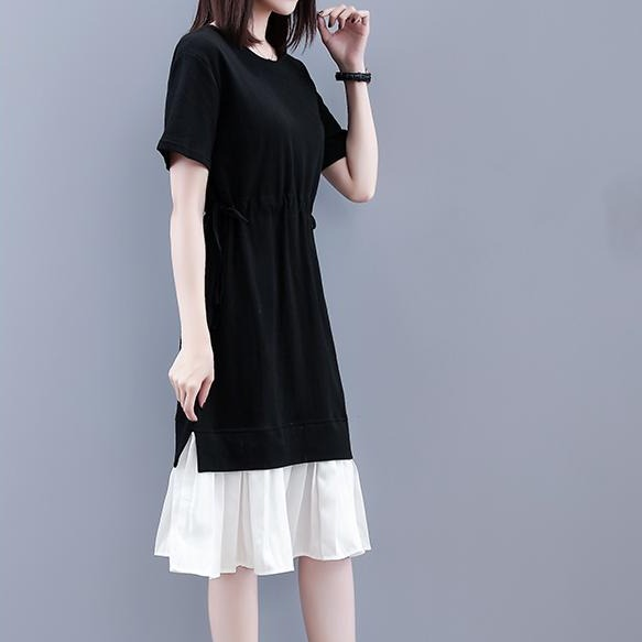 (Pre-Order) Mock 2 Piece Contrast Waist Tie Loose Fit Midi Dress in Black