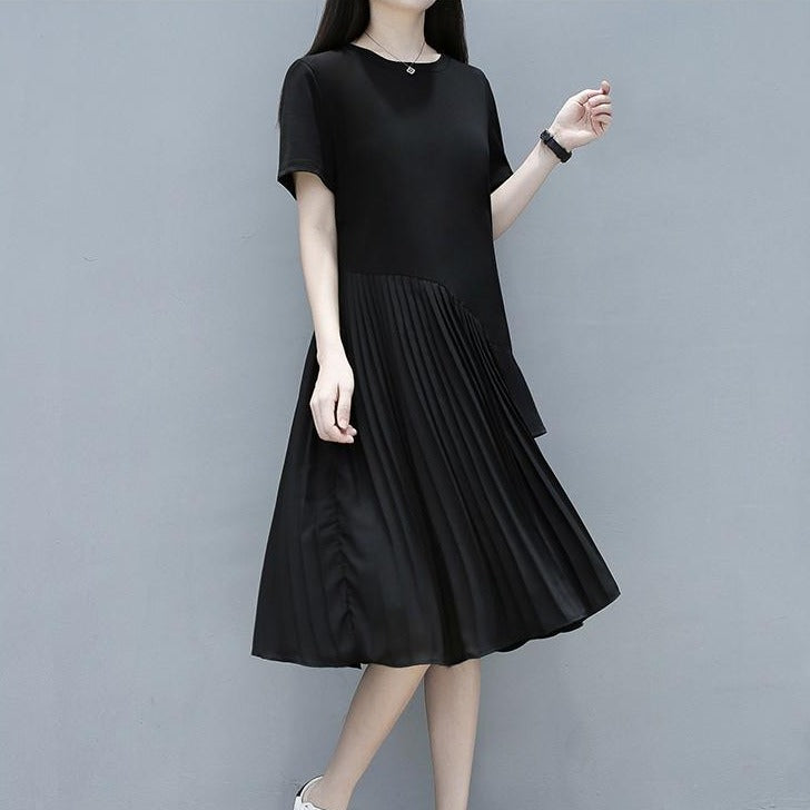 (Pre-Order) Sleeve Ruffles Pleats Patch Loose Fit Dress in Black