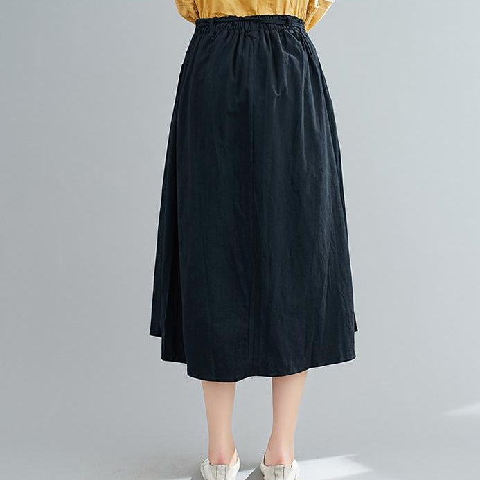 (Pre-Order) Asymmetrical Side Slit High Waist Loose Fit Midi Skirt In Black