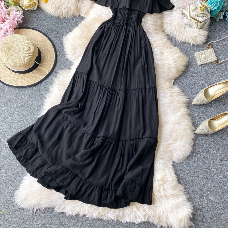 (Pre-Order) Off-Shoulder Ruffles Gypsy Dress in Black