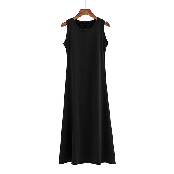 (Pre Order) Round Neck Sleeveless Midi Dress in Black
