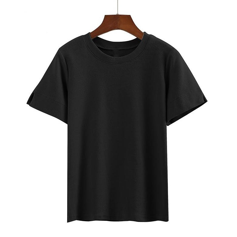 (Pre-Order) Basic Round Neck Sleeve Cut-Out Top in Black